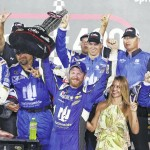 Earnhardt wins rain-delayed Daytona ahead of Dillon's crash