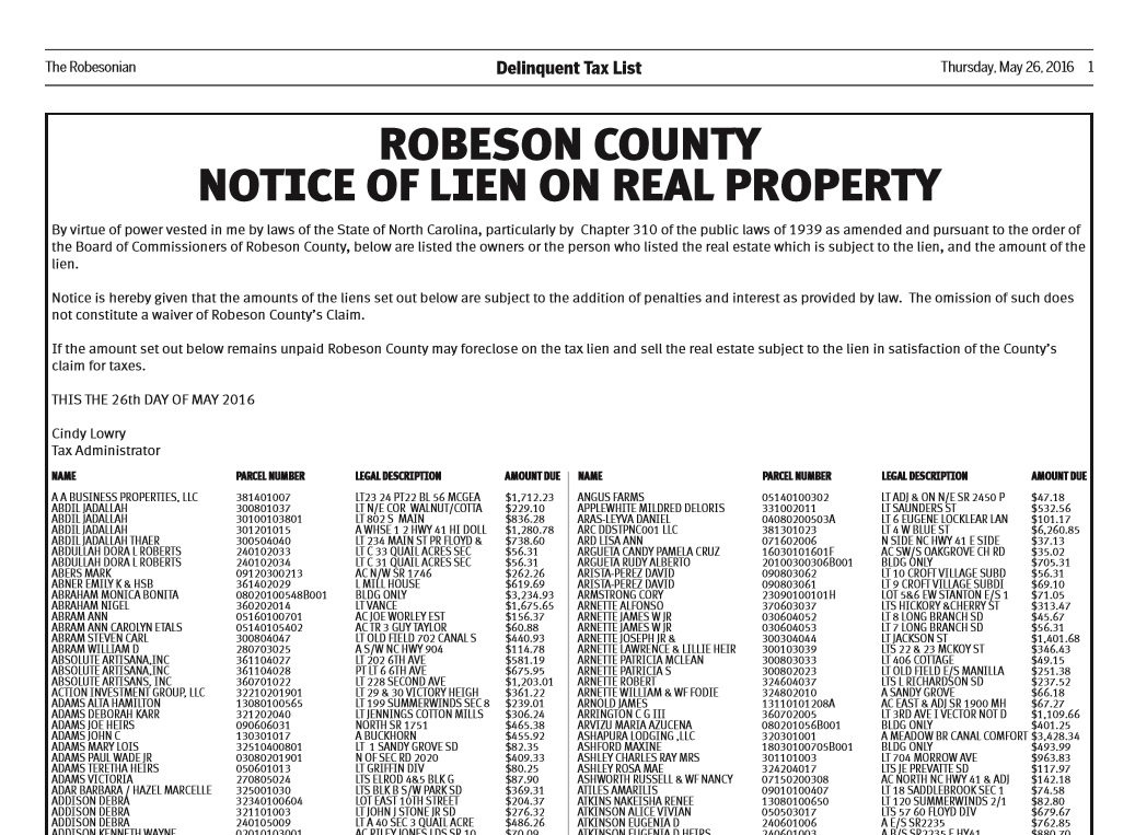 2016 Robeson County delinquent taxes
