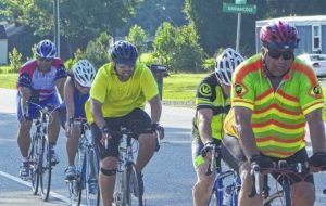 Jaymie Baxley | The Robesonian | Riders participate in last year's Lumbee Homecoming bicycle ride sponsored by the Pembroke Kiwanis Club. This year's ride will kick off at 6:30 a.m. Saturday and is dedicated to Joel Garth Locklear Sr.