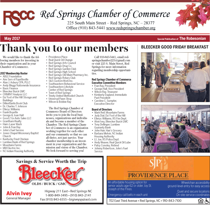 Red Spring Chamber of Commerce Newsletter May 2017